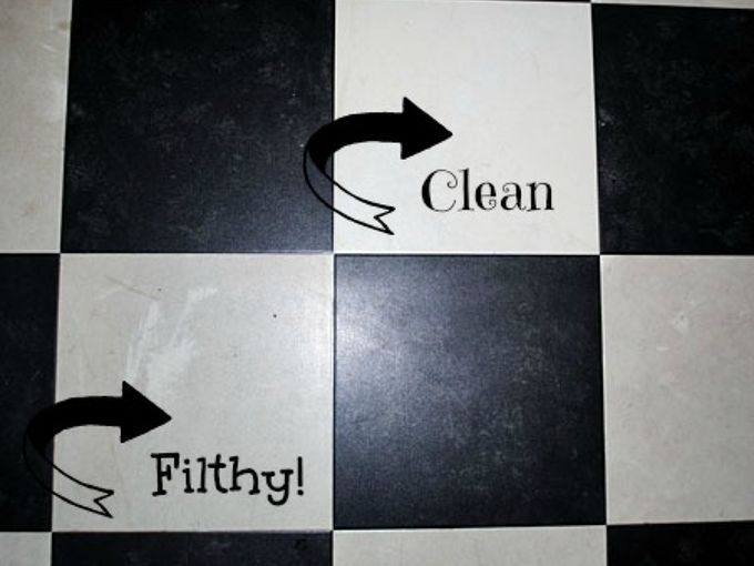 how to easily clean grimy vinyl floors, cleaning tips, flooring, tile flooring, You can see a big difference in this photo between the vinyl tile that I cleaned and the dirty ones