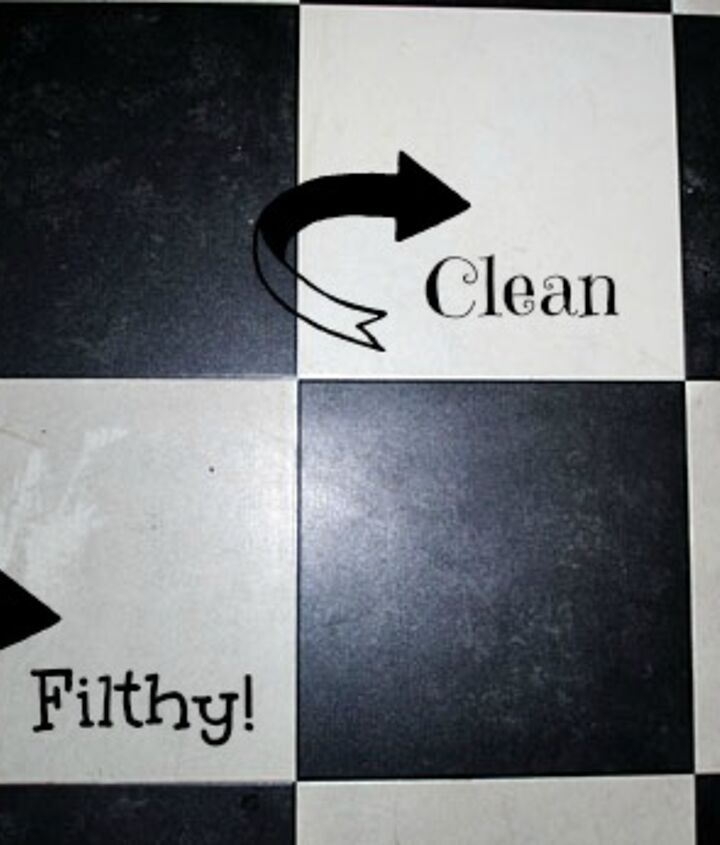 You can see a big difference, in this photo, between the vinyl tile that I cleaned and the dirty ones!