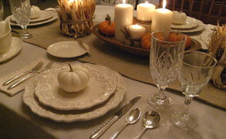 thanksgiving tablescape in cream with natural elements, home decor, seasonal holiday decor, thanksgiving decorations, My grandmother s dough bowl filled with candles and pumpkins stars as the centerpiece