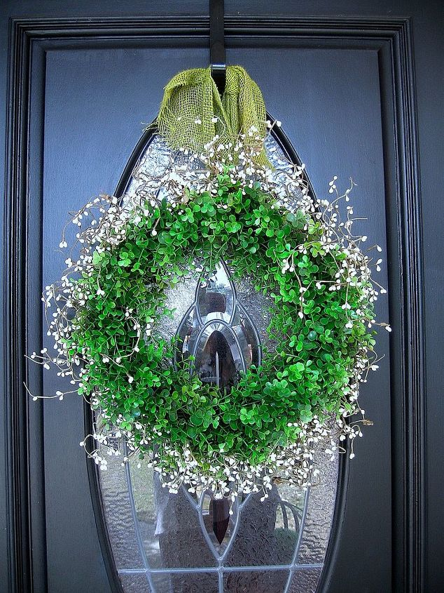 Faux boxwood wreath with white pip berries.