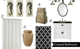 black white coastal bathroom inspiration board, bathroom ideas, home decor, Black and white bathroom inspiration board consisting of a great white vanity with black countertop black and white rug white shower curtain wood nesting trunks wicker hamper coastal inspired mirror and sconces and seahorse plaque