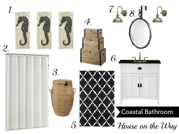 Black White Coastal Bathroom Inspiration Board Ideas Home Decor And