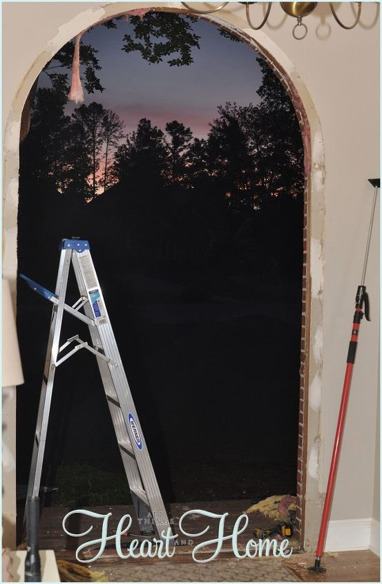 diy arched tudor door, diy, doors, how to, woodworking projects, On the morning of the install we took out the existing door and door frame all I could think was this has GOT to fit