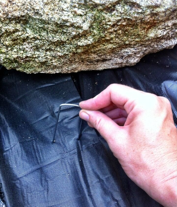 Pins to keep the landscaping fabric in place.