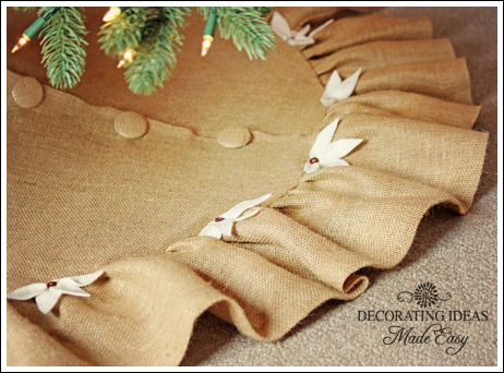 christmas tree skirt pattern crafts flowers the covered buttons really made this tree - Burlap Christmas Tree Skirt