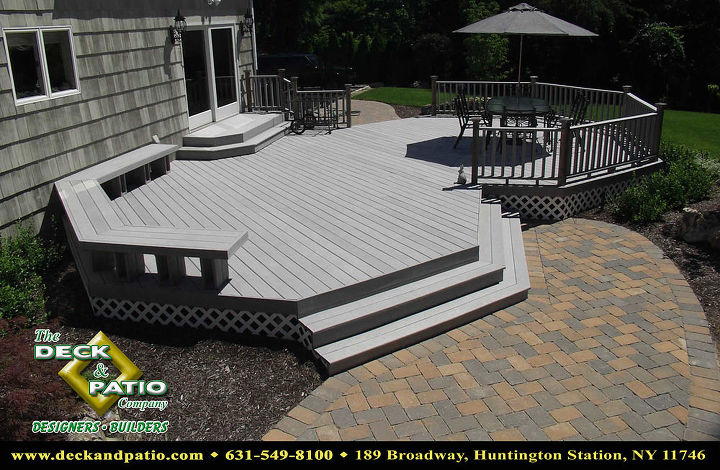 Trex deck with benches, stairs and rail