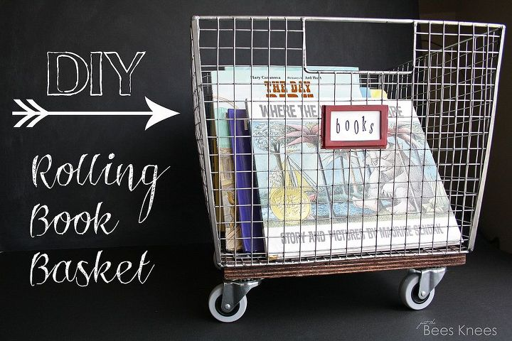 get organized with this easy and inexpensive diy rolling book basket, diy, organizing, repurposing upcycling, shelving ideas, woodworking projects