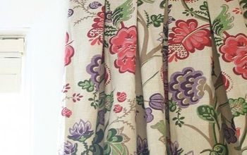 No sew box pleat curtains made from a tablecloth
