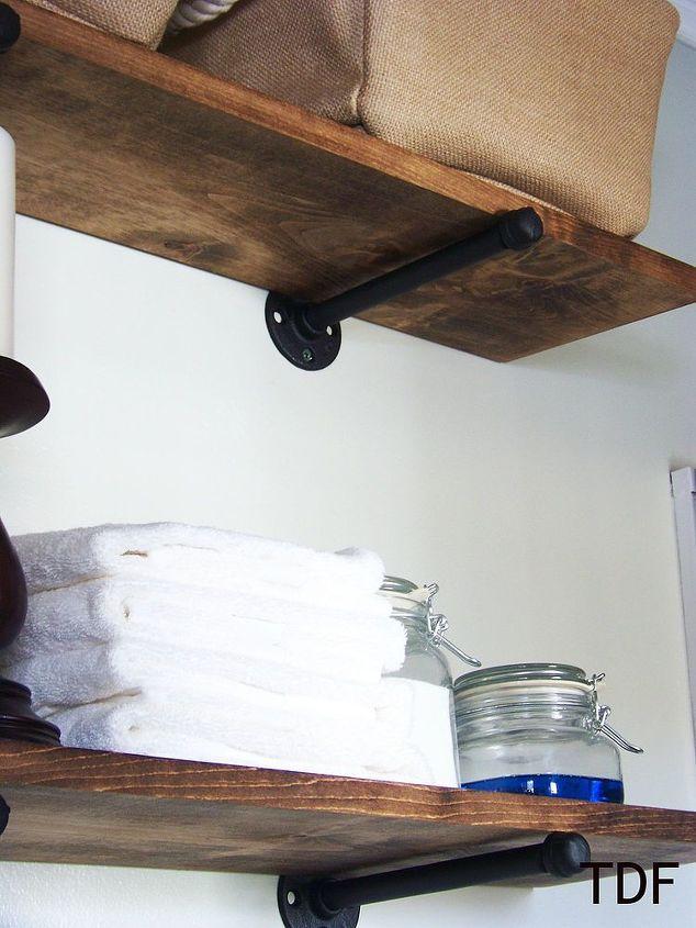 diy shelves using plumbing fixtures as brackets, diy, repurposing  upcycling, shelving ideas