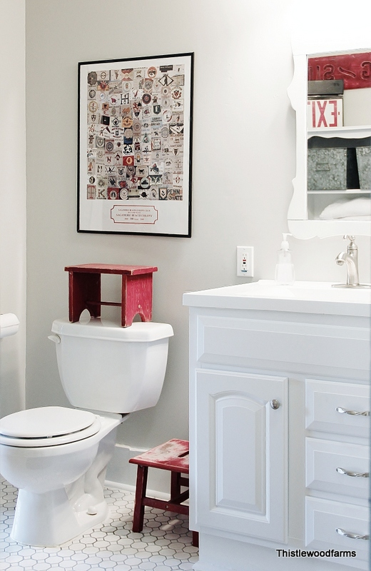 Red White And Blue Bathroom Reveal Hometalk
