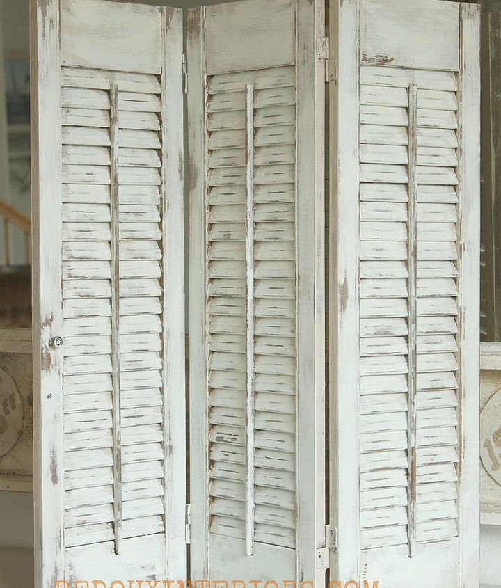 Estate Sale treasures. I found several sets of plain wood shutters.  Gave them a new look with a blend of CeCe Caldwells Nantucket Spray and Vintage White