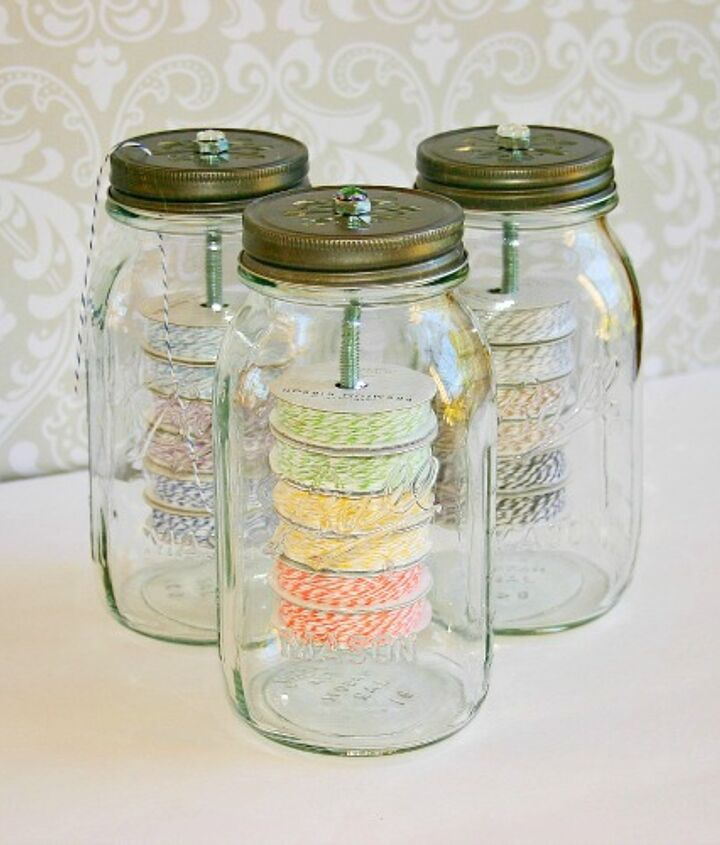 If you'd like to learn more, including where to buy the lids, check out my post at: http://www.acasarella.net/2013/03/mason-jar-twine-holders.html.