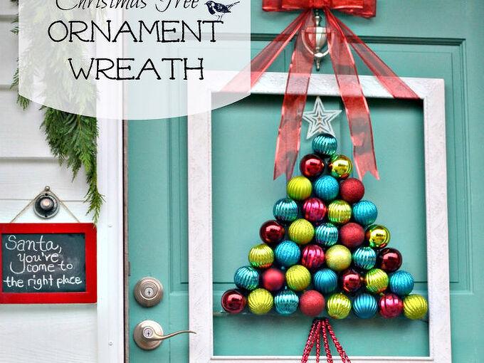 framed christmas tree ornament wreath, christmas decorations, crafts, seasonal holiday decor, wreaths