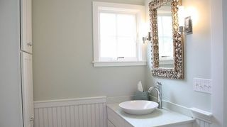 q height for tonge and grove panneling in small bathroom, bathroom ideas, diy, how to, paint colors, small bathroom ideas, wall decor, This bathroom in the same house has the wainscoting a bit lower to line up directly with the height of the vanity back splash