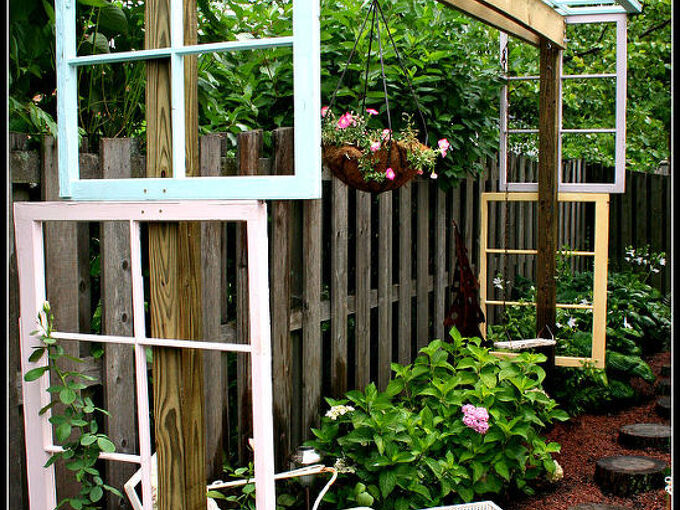 modified pergola built with recycled windows, decks, outdoor living, repurposing upcycling