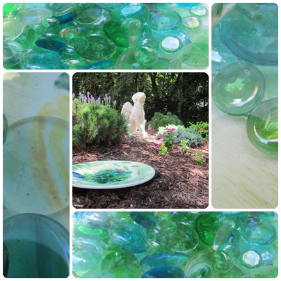 Collage of Birdbath in Garden.