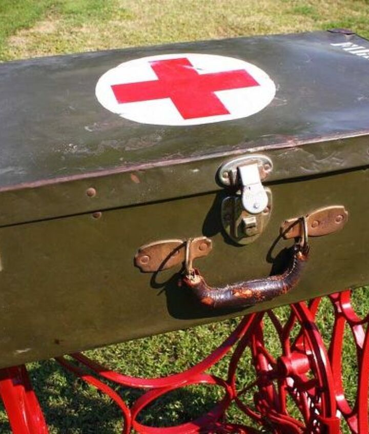 repurposed wwii military first aid storage suitcase table w sewing machine base, repurposing upcycling