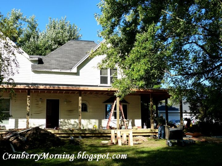 q building a front porch wall thickness question, curb appeal, diy, how to, porches, Porch Roof is on now for the wall