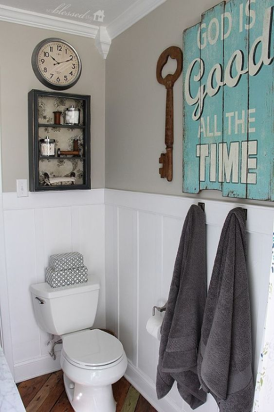 cottage style bathroom makeover, bathroom ideas, home decor, home improvement, painting, woodworking projects