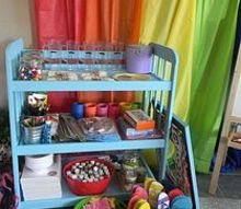 diy turn a changing table into a party table, painted furniture, repurposing upcycling, It was the perfect place to hold snacks and craft supplies all in one place without taking up too much room