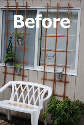 The 'Before': a neglected trellis wall and plastic furniture were begging for a makeover.