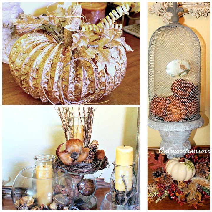 Dryer Hose pumpkin and cloche filled with pumpkins with a small pumpkin floral arrangement