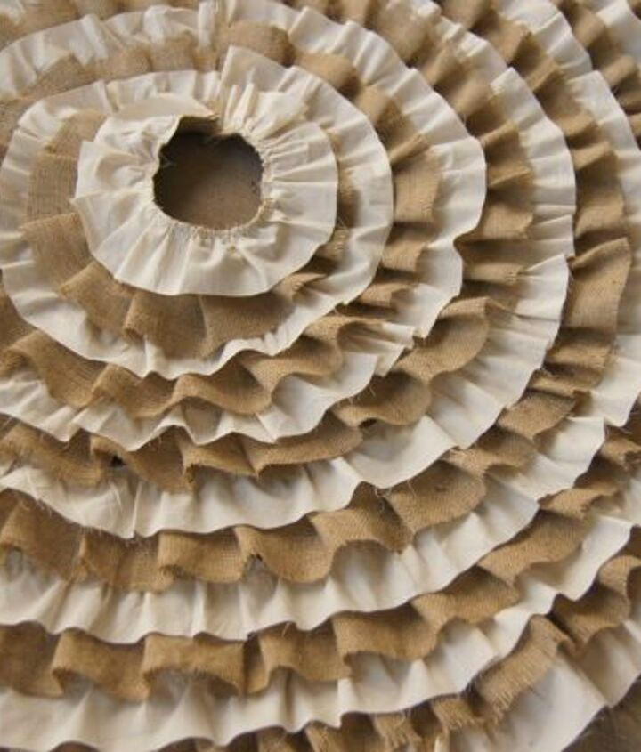 recycled burlap and muslin ruffle tree skirt, crafts
