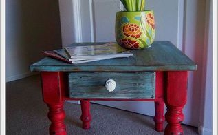 a boring side table gone quirky, painted furniture, After