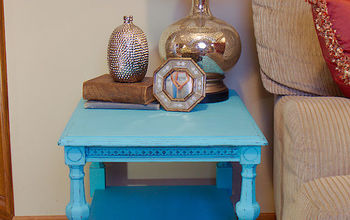 vintage turquoise carved sidetable, home decor, painted furniture