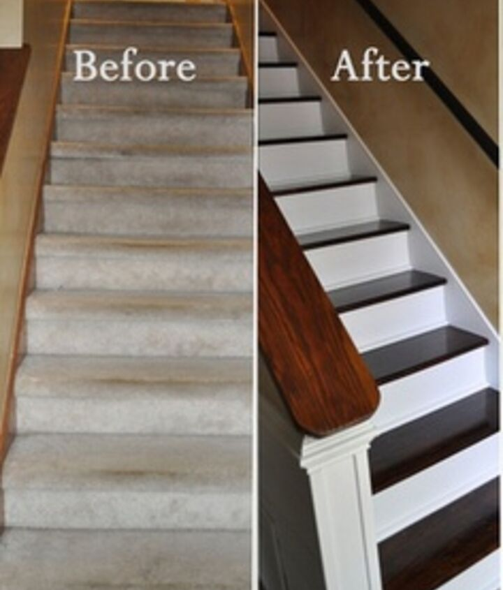 If you no longer want carpet flooring, or you are sick with what you have make sure to fix something up by repainting it and adding wood like in the picture.