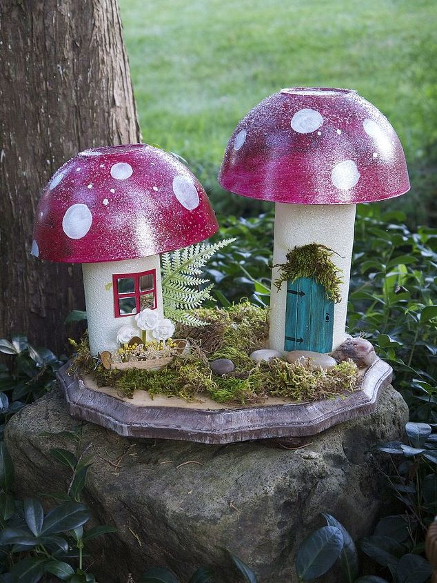 mushroom cottages from a spruced up pool noodle
