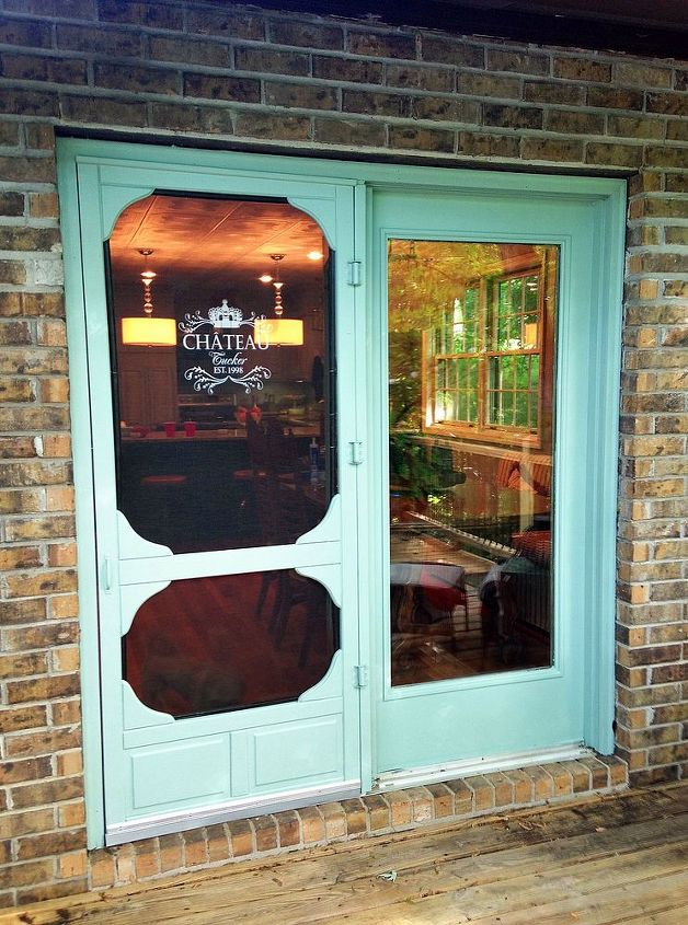 Stenciled and painted vintage screen door.