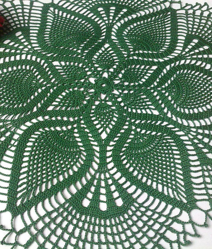 dark green pineapple crochet doily, crafts, home decor