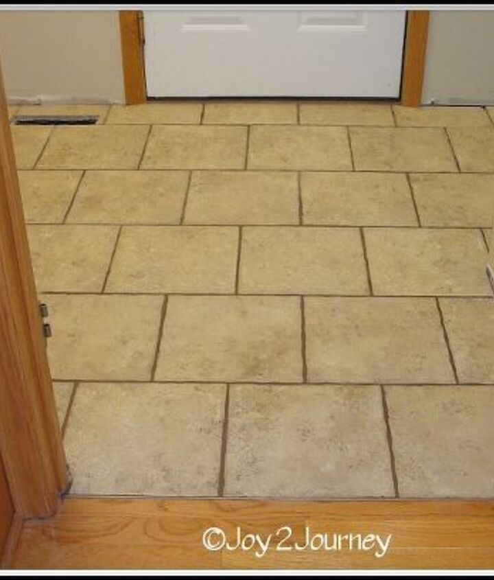 Mudroom tile floor, after being grouted and sealed.