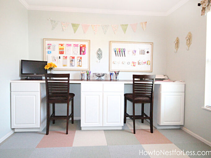 craft room diy desk tutorial, craft rooms, diy, how to, woodworking projects, Two places for sitting plenty of workspace and storage galore