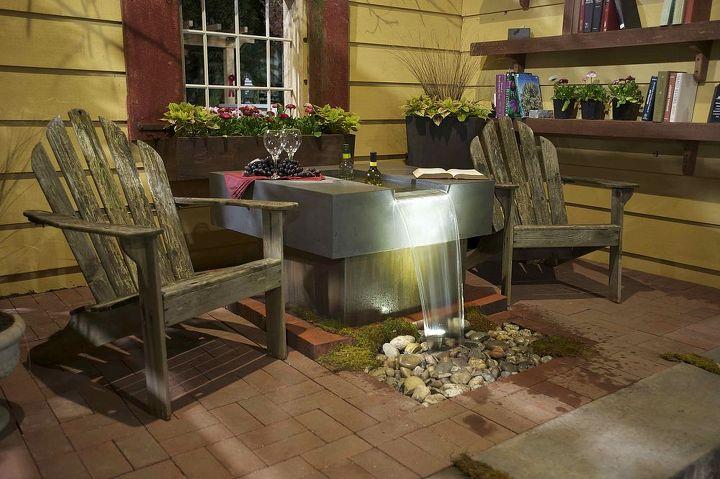 Concrete Wine Table Fountain.  Concrete designed and crafted by Phillip Ferreira.