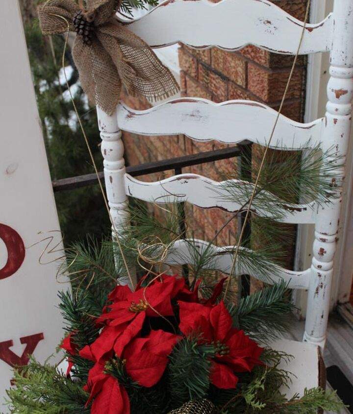 chair for charity creation, christmas decorations, repurposing upcycling, seasonal holiday decor, We wrapped the base of the chair in a burlap skirt and added some tacs and Vickie painted a little Welcome sign on it to add to the charm of the front door fru fruification FAB
