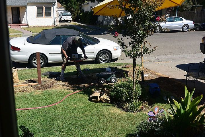 progress on our front yard white picket fence, diy, fences, how to, woodworking projects, Day 1 digging all the post holes