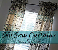 no sew curtains, home decor, reupholster, window treatments