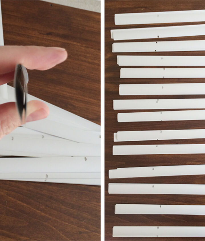 diy sunburst mirror under 10, crafts, Stack the blinds by two making sure the blinds curve in on each other like an oval