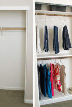 diy closet kit for under 50, closet, organizing, shelving ideas, storage ideas, Before After of DIY Closet Kit