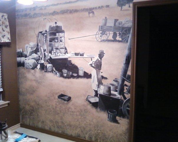 Matador Ranch Wall Mural by GranArt was done for a client that lives in Pecan Plantation - Granbury, Texas https://www.etsy.com/shop/GranArt