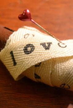hand printed vintage love ribbon, crafts
