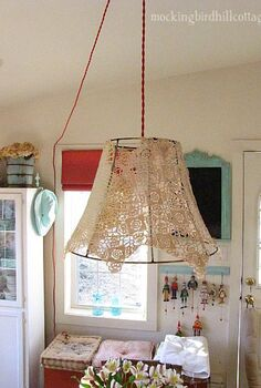 doily industrial swag light, diy, lighting, repurposing upcycling