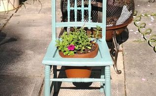 chair with flower pot, flowers, gardening