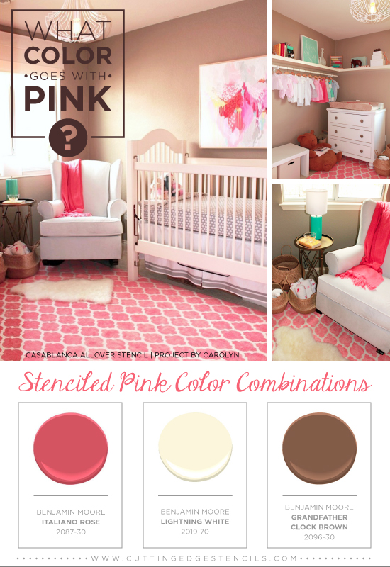 What Color Goes With Pink Stenciled Combinations Bedroom Ideas Painting Wall