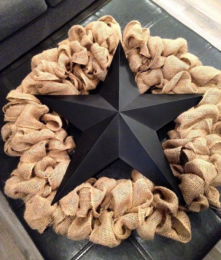 burlap star wreath, crafts, wreaths