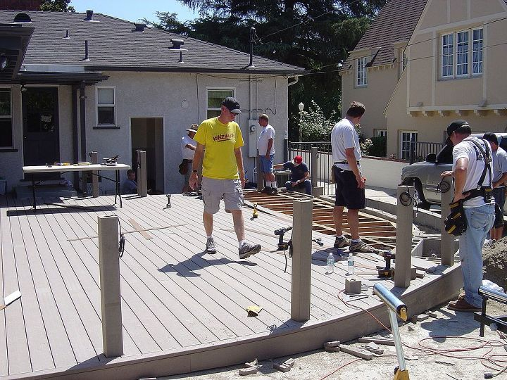 It took them all day to lay the entire deck. Big job!