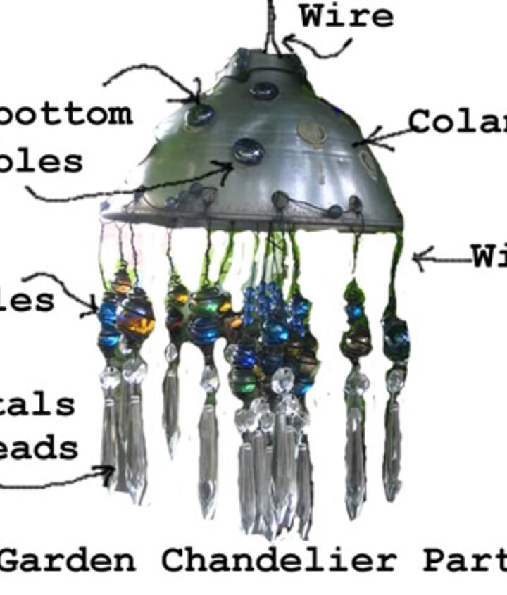 1. Find an old kitchen colander or metal lamp shade - you'll want holes in it for attaching the wires. 2. Use 16 gauge wire. Wrap around marbles and hang old lamp crystals (fake is fine!) on the ends. 3. Glue on flat-bottom marbles.