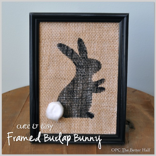 Framed Burlap Bunny, painted using a stencil and acrylic paint, with an added cotton ball tail.
